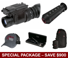 AGM PVS-14 Monocular Night Vision Device, Dual AA Battery,GEN 2+ Photonis Autogated Tube – 64lp/mm (minimum) w/Manual Gain Package