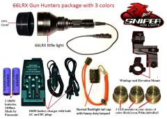 Sniper Hog Lights 66LRX Gun Hunters Package with 3 colors (Red, Green, IR)