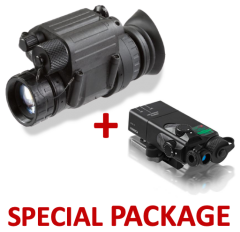Package NVG PVS-14 Night Vision Monocular Gen 3 Auto-Gated Manual Gain Made in USA + Steiner OTAL-C IR Offset Aiming Laser