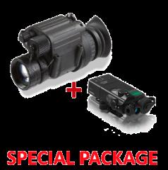 Package NVG PVS-14 Night Vision Monocular Gen 3 Auto-Gated MG w/Elbit Tube Data Sheet 64-72lp/mm + Steiner OTAL-C IR Offset Aiming Laser